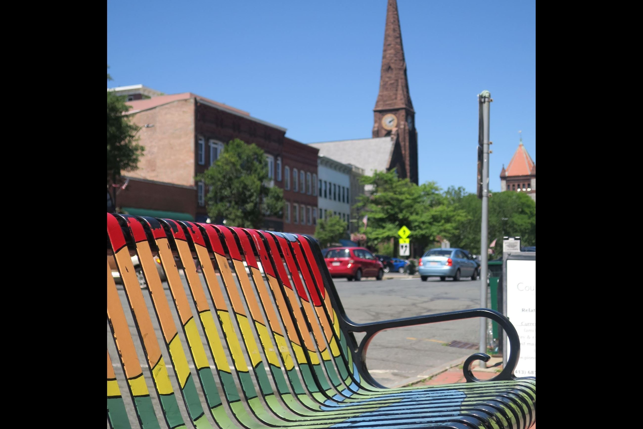 Main Street Bench painted with artwork