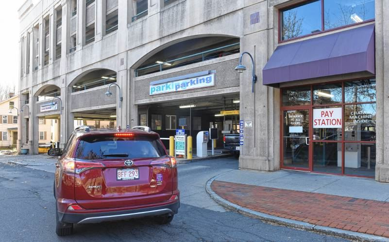 A picture of a car pulling into Northampton's John Gare Parking Garage