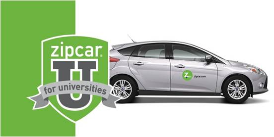 Zipcar For Universities Logo with Picture of Car