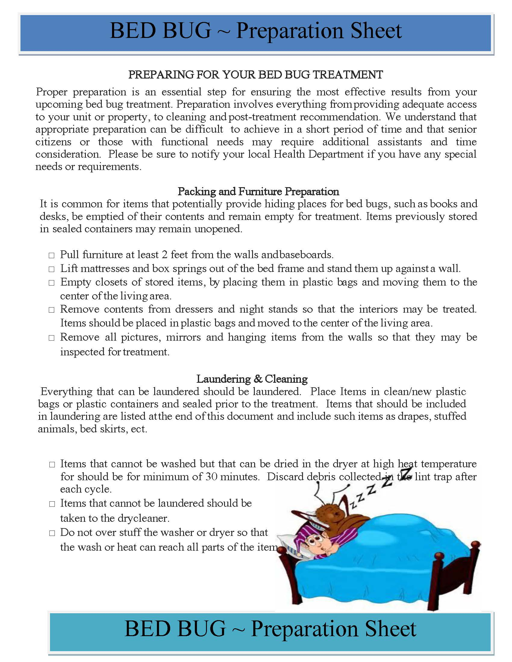 Preparing for Your Bed Bug Treatment, Page 1