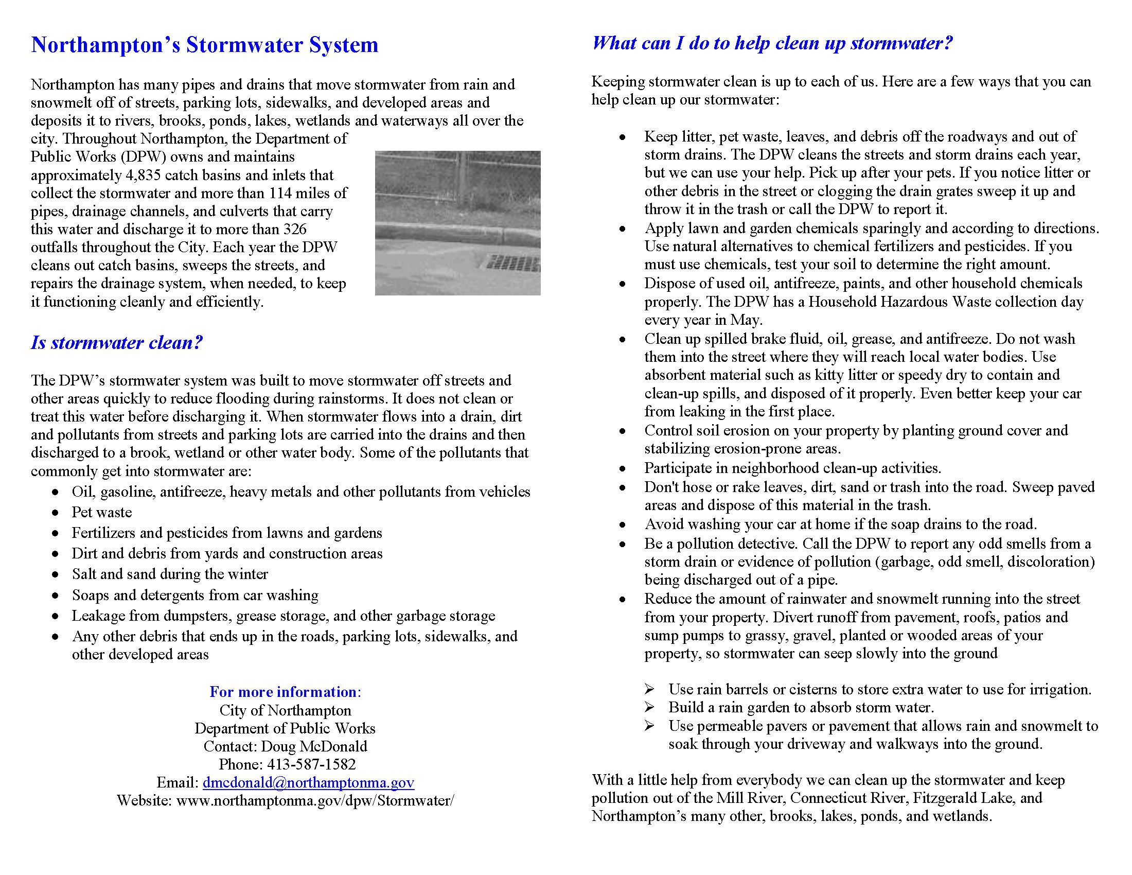 Image of 2013 Stormwater Fact Sheet Opens in new window
