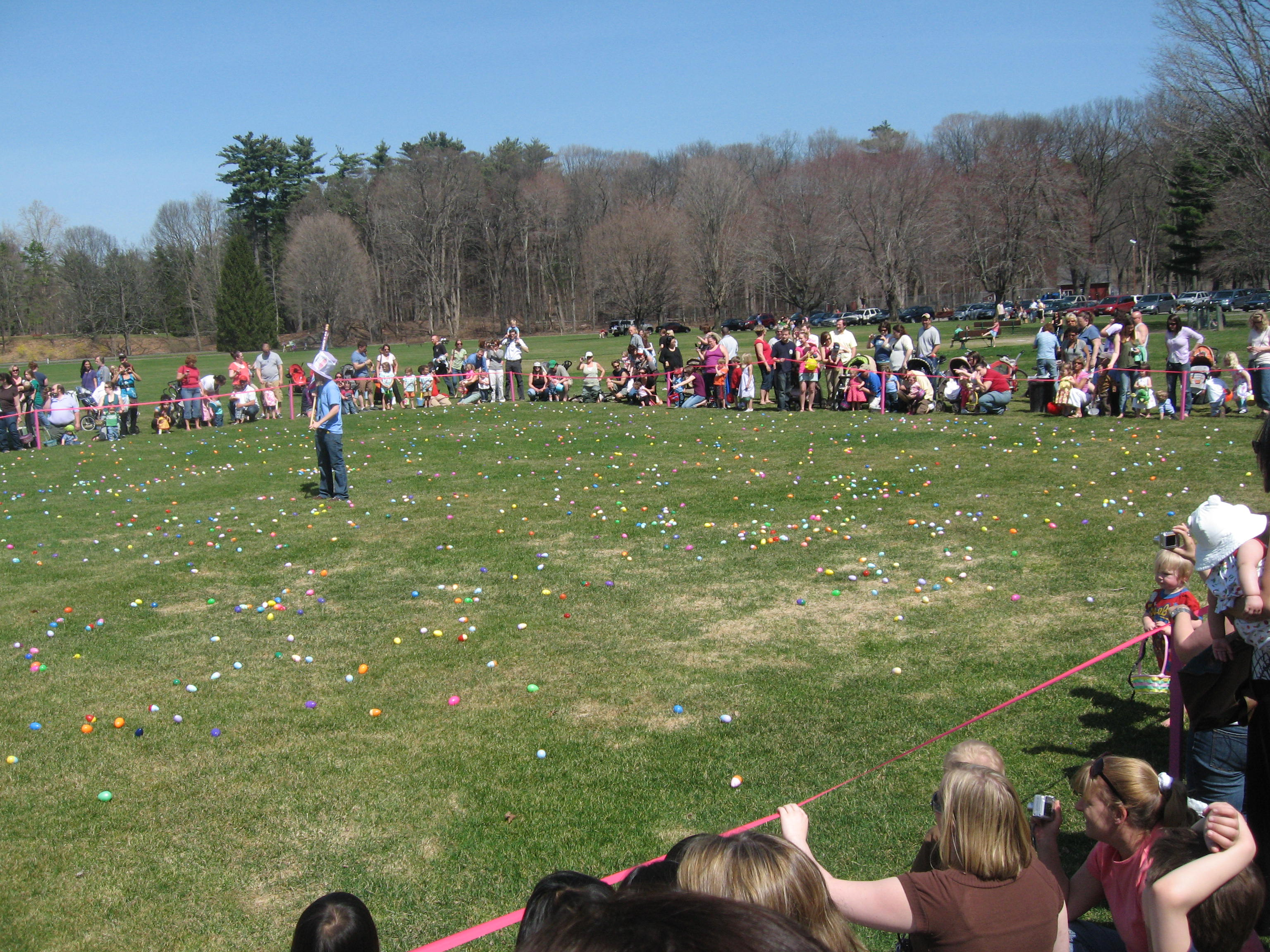 People at egg hunt event